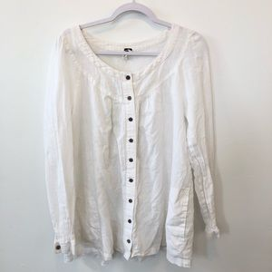 We The Free White Linen Button Down Shirt Top L